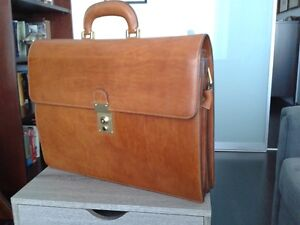 Vintage new Italian drum leather briefcase and saddle bag