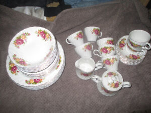 collector dishes cottage rose