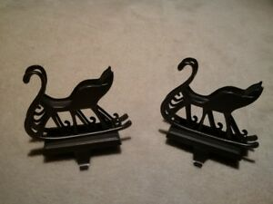 Pair of Sleigh Stocking Hook Stands (for mantle/shelf)