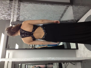 Black beaded prom dress