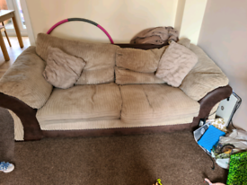 Brown 3 seater Sofa with cushions