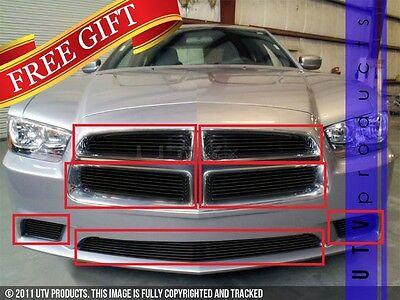 GTG 2011 - 2014 Dodge Charger 7PC Gloss Black Overlay Billet Grille Grill Kit