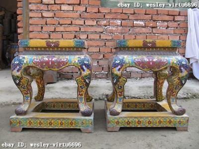 Chinese Huge royal Copper cloisonne enamel stool Pair