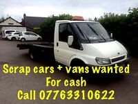 Scrap cars and vans bought for cash