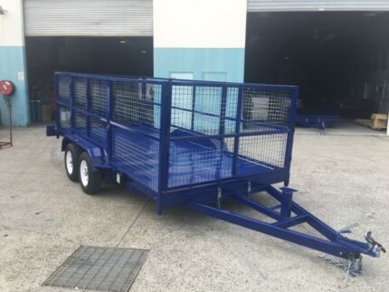 AUSSIE BUILT 1200MM CAGE ON A 15FT CAR TRAILER WITH TILTING!