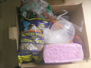 Food, bedding, cage, accessories for hamster and gerbil