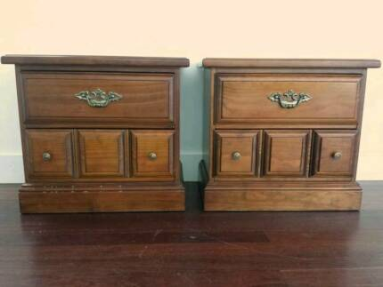 Solid timber Berryman bedside cabinets x 2