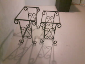 2 rod iron side tables