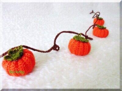 pumpkin garland primitive autumn thanksgiving halloween decoration hand crochet