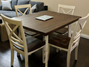 5-piece Hardwood Dining Table Set, seats 4
