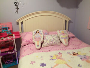 Double Bed Frame, Mattress, Bedding, and crib