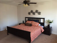 King Size Bed + Mattress + Wall Decoration $350