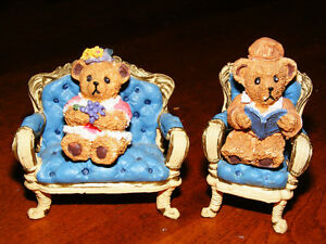 Doll House Furniture - 2 Chairs and 2 Bears