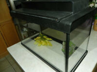 "Fish tank for sale,   Approx. 11 gal (13x10x20.5"")   Lid, light,"