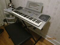 Casio Keyboard, stand and bench