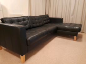 IKEA Landskrona 3 seat leather sofa with chaise