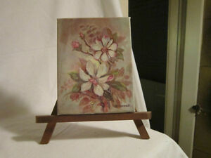 Original Small Signed Painting with Wooden Stand