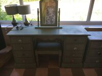 Pine shabby chic dressing table with stool and mirror