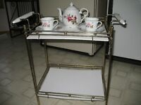 Serving/DisplayTable, Brass and White Shelves $85.00 or OBO
