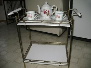 Serving/DisplayTable, Brass and White Shelves $65.00 or OBO
