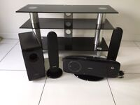 Glass tv stand and Samsung DVD player and surround sound
