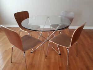 Crate & Barrel glass top table