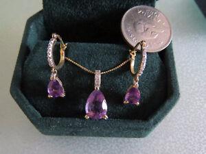 Beautiful Amethyst and Diamond Earrings and Pendant
