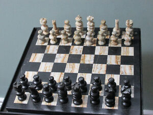 Marble Chess and Checker set with stand London Ontario image 1