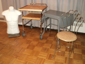 TABLES ON WHEELS, VANITY CHAIR & MANNEQUIN