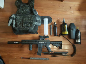 Modded Tipman A5 Paintball Gun + Accesories