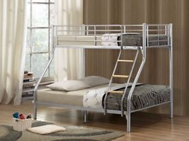 💗💗 Cheapest Price 💗💗 Brand New Trio Sleeper Metal Bunk Bed w 9; Dual-Sided Semi Ortho Mattres