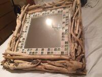 100% hand made drift wood mirror