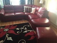 Red real leather recliner corner suite