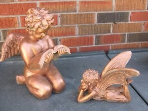 READING ANGEL WITH FAIRY GARDEN STATUES $15 for both