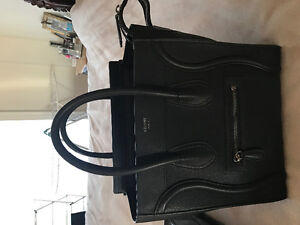 Authentic Black Drummed Leather Celine Micro Luggage