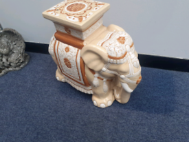 Elephant plant stand garden seat