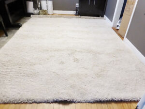 New Large Costco Cream Thick Shag Area Rug – 8'x10'