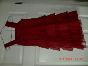 Girls Size 10 red Glittery Party Dress