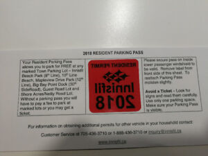 Innisfil Parking Pass for 2018