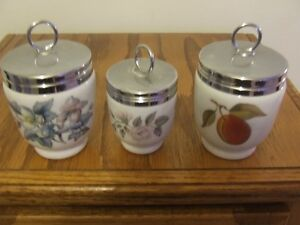 ROYAL WORCESTER FINE PORCELINE JARS w LIDS