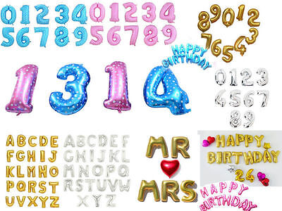 16  42 Huge Numbers Foil Balloon Letter Happy Birthday Party Favors Supplies Lot