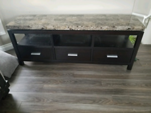 Marble top tv stand.