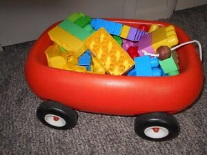 Pull Wagon filled with Bloks for Toddlers