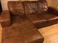 Three piece leather Italian leather sofa