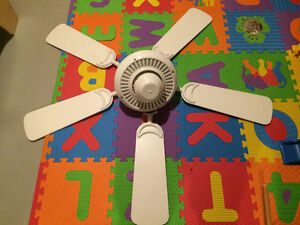 white ceiling fan with controller