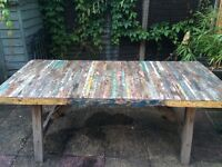 Large Dining Table made from recycled Indonesian fishing boats