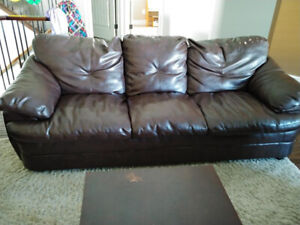Leather couch,  love seat, chair and coffee table set