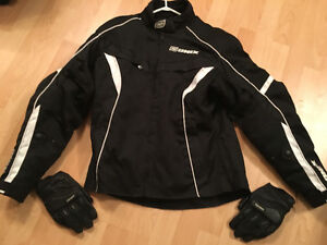 Onix Large Woman's Motorcycle Jacket + Icon Gloves