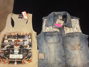 Harley Davidson vest and tank and sullen art purse