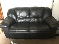 2 x 2 seater leather couches in black